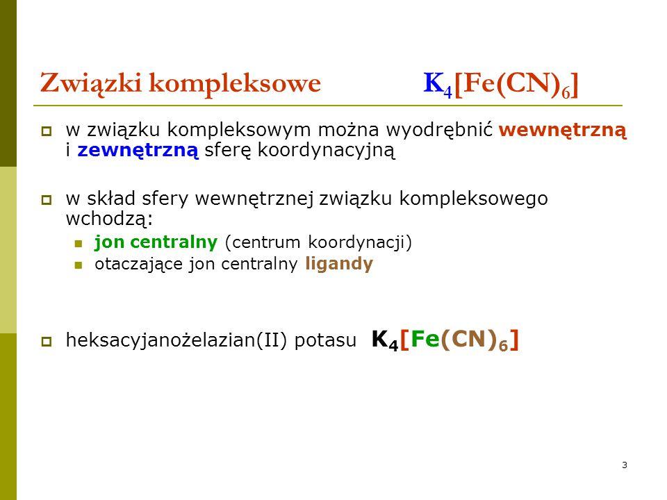 Związki kompleksowe K4[Fe(CN)6]